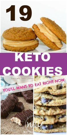 19 Delicious Low Carb & Keto Cookies and Bar Recipes, Desserts, 19 easy keto cookie recipes you'll want to eat right now. Low carb cookies make it easy to stick to your ketogenic diet and are a perfect healthy dess. Keto Desserts, Desserts Sains, Keto Snacks, Keto Foods, Keto Cookies, Cookies Et Biscuits, Chip Cookies, Gourmet Recipes, Low Carb Recipes