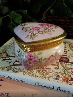 Heart Shaped hand Painted Valentines Box with Roses and
