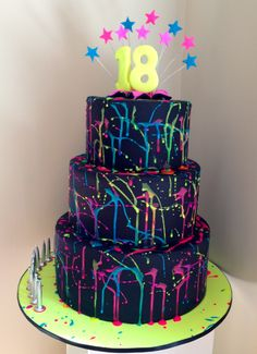 Neon Birthday Cakes, 13th Birthday Parties, Girl Birthday Themes, Birthday Party For Teens, Sweet 16 Birthday, 10th Birthday, Bolo Neon, Neon Cakes, Glow In Dark Party