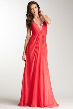 Embellished Halter Gown by La Femme on @HauteLook