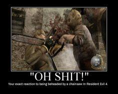 Resident Evil most terrifying part by far Horror Video Games, Video Games Funny, Funny Games, Resident Evil 4 Gamecube, Resident Evil Game, Devil May Cry, Dino Crisis, Leon S Kennedy, Gamer Humor