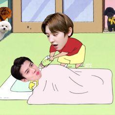 Exo Cartoon, Cartoon Fan, Baby Cartoon, Exo Memes, Funny Memes, Kpop, Chanbaek, Going Crazy, Korean Drama