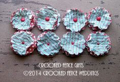 Paper Flower Favor Aqua with Red Stripes Lot by crookedfencegifts, $8.50