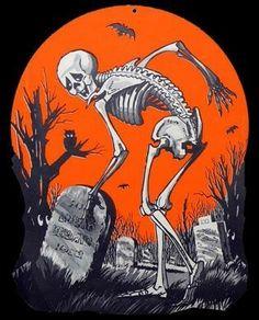 Skeleton in a Graveyard - Rare Vintage Halloween Die Cut