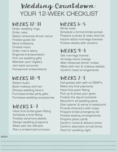 wedding countdown your 12 week checklist wedding schedulewedding planning timelineprintable