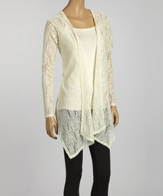 Take a look at this Natural Lace Long Open Cardigan by Simply Irresistible on #zulily today!