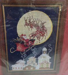 Janlynn Cross Stitch Kit Now Dash Away All Santa Reindeer Moon House Christmas #Bucilla