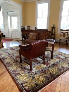 Guildcraft Carpets ~ Vineyard 3 in Harvest Colors. At home in a restored, historic Charleston house. A Voysey designed, wool rug in deep red and gold tones.