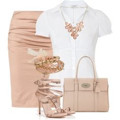 Blush pencil skirt and white blouse
