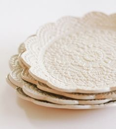 White Lace Plates - Set of 4 by Jocie Pots on Scoutmob