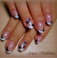 pretty manicure minus the stone & flower though. Pretty Nail Art, Cute Nail Art, Cute Nails, Nail Tip Designs, French Nail Designs, Nails Design, Elegant Nails, Stylish Nails, Diy Nails