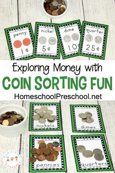 Explore Money with Preschool Coin Sorting Fun Exploring money with preschoolers is fun with these preschool coin sorting activities. Preschool math is fun when you use real money! Free Preschool, Preschool Lessons, Preschool Learning, Kindergarten Activities, Sorting Activities, Preschool Projects, Money Crafts For Preschoolers, Sorting Kindergarten, Montessori Preschool