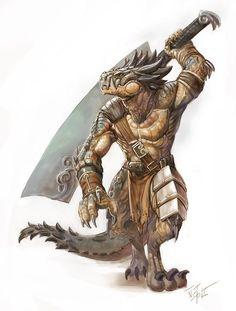 Male dragonborn barbarian