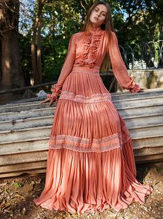 Costarellos Pre Fall - />Blouson-Sleeves, Long Tiered Dress with Bow Tie Ruffled Neck Fashion Mode, 70s Fashion, Modest Fashion, Fashion Dresses, Vintage Fashion, Fashion Ideas, Fashion Hacks, French Fashion, Party Fashion