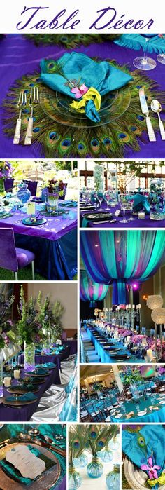 A tablescape in peacock colors is sure to bring ooohs and aaahs!                                                                                                                                                                                 More