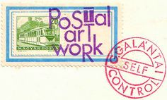 Mail art by György Galántai, 1981. Media commonly used in mail art include postcards, paper, a collage of found or recycled images and objects, rubber stamps, artist-created stamps (called artistamps), and paint, but can also include music, sound art, poetry, or anything that can be put in an envelope and sent via post.