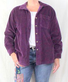 Nice 3 Season LL Bean Wale Corduroy Shirt Jacket Flannel Lined M size Purple Womens