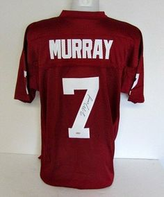 DeMarco Murray Autographed Custom Maroon Jersey SI/Murray Holo . $199.00. Featured is a SIGNED DeMarco Murray Maroon Custom Jersey. Murray was a star running back for the Oklahoma Sooners. This jersey was hand-signed by Murray and includes Sports Integrity hologram and COA, plus Murray holo.