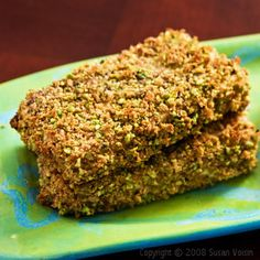 Pistachio Crusted Tofu- You did it again Susan Voisin- this was great! (I got up at midnight and ate one cold.)