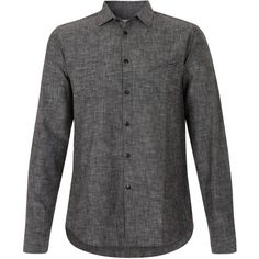 Folk Charcoal Chambray Printed Elbow Patch Shirt ($210) ❤ liked on Polyvore featuring mens, men's clothing, men's shirts, men's casual shirts and men