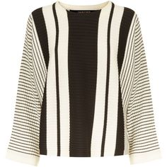 Jaeger Wool Striped Cropped Sweater (£110) ❤ liked on Polyvore featuring tops, sweaters, black, women, breton top, striped sweater, stripe crop top, wool tops and stripe sweater