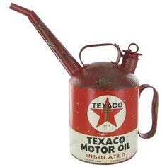 Vintage Style Replica TEXACO Motor Oil Metal Spout Can Container Genuine Collectible MAN CAVE