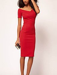 Sheath/Column Scoop Knee-length Polyester Semi-Formal Dress – AUD $ 28.59
