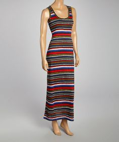 Another great find on #zulily! Black & Red Stripe Sleeveless Maxi Dress by Nanavatee #zulilyfinds