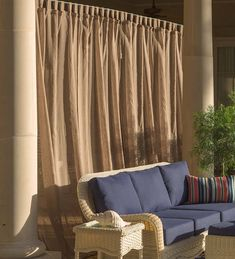 Shenandoah Outdoor SunSpun Tab Top Outdoor Curtains are light and airy for a beautiful look on porch, covered patio, veranda, sunroom and more. Outdoor Living, Indoor Outdoor, Behind Couch, Porch Wall, Outdoor Curtains, Backyard Retreat, Hearth, Decks