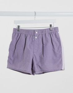 ASOS DESIGN swim shorts in lilac acid wash with popper fastening short length