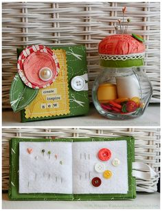 Pretty couple  (◡‿◡✿)   DIY Mini Needle Book and Pin Cushion Storage Jar   By Patti Milazzo via GlueArtsBlogspot
