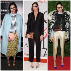 """The 21 Best-Dressed Women Right Now - Jenna Lyons has a knack for mixing feminine """"fancy"""" items like sequin pants, satin trousers, and glittery statement jewelry with broken-in basics (chambray shirts, striped tees, crewneck sweaters)."""