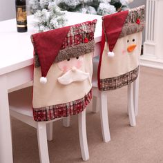 Christmas Chair Back Covers Uk Green Tufted Dining 52 Best Images 2018 Cover Santa Claus Snowman Decor F Home