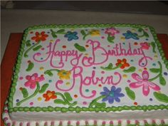 Half & Half sheet cake for a birthday at a local doctor's office.  The inspiration was from a design by Jenncowin here on CC.  This...