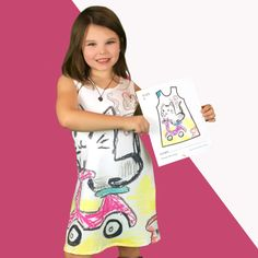 Wear your Imagination! Kids design their dresses hands-on. Parents send us a picture of their art. We send back your custom cut-and-sewn dress, ready to wear!