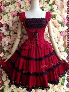 J630 vermelho em camadas em camadas vestido Lolita cosplay sleevesless goth gothic halloween em Vestidos de Roupas e Acessórios Femininos no AliExpress.com | Alibaba Group
