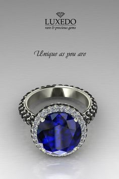 Blue sapphire on white and black diamonds setting.. *Unique as you are* http://www.luxedogems.com/jewels/
