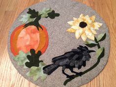 Fall Halloween Pumpkin Wool Penny Rug with Raven by pinkamingo, $65.00