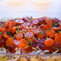 Dijon-kylling med bagte grøntsager