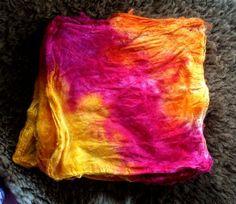 Hand Dyed Silk Hankies 1.1 Oz/32 Gram Spring by FriendsinFiber, $16.00