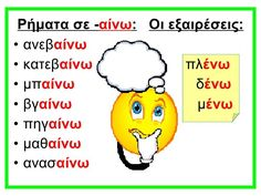 ΧΡΟΝΟΙ ΡΗΜΑΤΩΝ -ΚΑΤΑΛΗΞΕΙΣ Greek Language, Speech And Language, School Lessons, Lessons For Kids, Grammar Posters, School Organisation, Learn Greek, Learning Games For Kids, School Worksheets