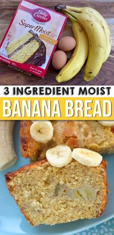 Looking for quick and easy banana bread recipes? This moist and delicious banana bread is made with just 3 ingredients: cake mix, ripe bananas and eggs. You can also add chocolate chips, walnuts, peca Quick And Easy Banana Bread Recipe, Super Moist Banana Bread, Easy Bread Recipes, Cake Mix Recipes, Dessert Recipes, Chocolate Chip Recipes, Banana Bread Recipes, Chocolate Chips, 3 Ingredient Banana Bread Recipe