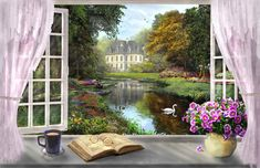 Window With A View (Variant 1) Rolled Canvas Art - Dominic Davidson (18 x 9) - Walmart.com