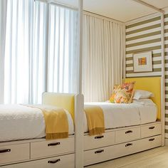 like the drawers on this captains bed. Can the two bunk beds fit end-to-end? The Coolest Bunk Rooms and Bed Nooks for Kids Teenage Girl Bedrooms, Girls Bedroom, Shared Bedrooms, Yellow Bedrooms, Attic Bedrooms, Childs Bedroom, Trendy Bedroom, Home Bedroom, Bedroom Decor