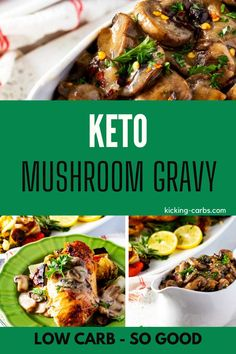 This Keto Mushroom Gravy is perfect for steak, chicken, or over mashed cauliflower.  This low carb recipe is super-easy to make and always a crowd pleaser. Gluten Free Recipes For Breakfast, Healthy Gluten Free Recipes, Gluten Free Dinner, Low Carb Recipes, Real Food Recipes, Chicken Recipes, Dinner Recipes, Keto Mushrooms