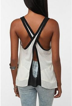 UrbanOutfitters.com > Silence & Noise Colorblock Crossback Tank Top. Awesome back, but you can still wear a bra. :D