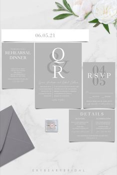 Silver Grey Elegant Modern Minimalist Wedding Invitation Template, Neutral Charcoal Gray Shadow Invitation Suite, DIY Printable Wedding Invitation Suite Download, Edit in TEMPLETT, 5 to 7 Piece Suite Includes Belly Band - Quinn This listing is an instant download digital file that can be edited in your web browser with Templett after purchase. All you need to do is Purchase > Personalize > Print! No waiting • No software to install • No fonts to download