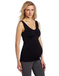 Lamaze Maternity Womens Seamless VNeck CamiThin Straps Black Large *** Continue to the product at the image link.