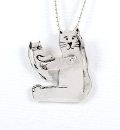 Sterling Silver Cat Jewelry Pendant - Cat Hazel Plays With Kitten Olive - Sterling Silver Cat Empowerment Jewelry - Jewelry Pendant - 2192