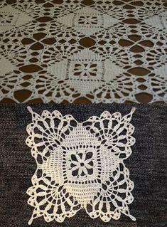 How to Crochet a Little Black Crochet Dress Crochet Tablecloth Pattern, Granny Square Crochet Pattern, Crochet Diagram, Crochet Stitches Patterns, Crochet Squares, Crochet Motif, Crochet Designs, Crochet Doilies, Crochet Home